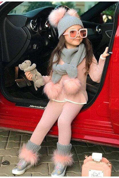 Riccotarz Kız Çocuk Pembe 5'li Triko Takım