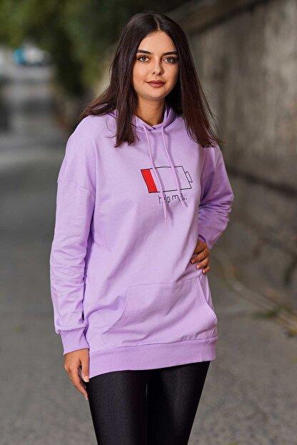Madmext Mad Girls Purple Printed Hooded Sweatshirt Mg751