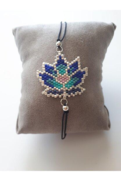 boncuktanseyler Miyuki Lotus Çiçeği El Yapımı Mavi Boncuk Bileklik