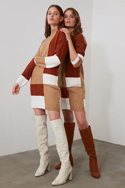 TRENDYOLMİLLA Kahverengi Colorblock Triko Kazak Elbise TWOAW20FV0063