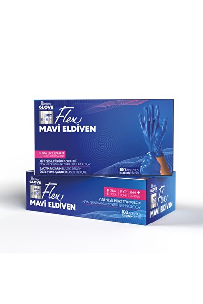 Reflex 100lü Paket Mavi Flex Yeni Nesil Hibrit Teknoloji Eldiven