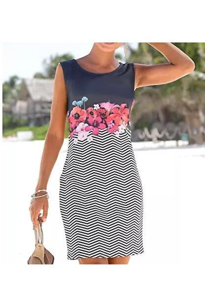 adalıbutik Kadın Lacivert Çiçek Desenli Mini Elbise