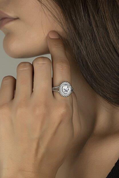 Else Silver Güverseli Tasarım Oval Taşlı Gümüş Yüzük