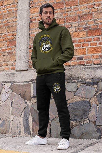 Angemiel Erkek Yeşil Wear Jazz Ve Saksafon Kapüşonlu Sweatshirt Siyah Eşofman Altı