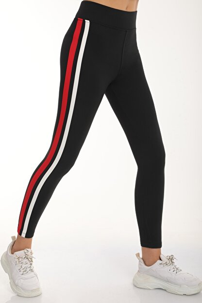 MD trend Kadın Siyah Şeritli Yüksek Bel Toparlayıcı Tayt/kırmızı/xl
