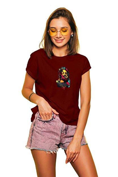 takivis Kadın Bordo Zeus 2 Kısa Kollu Tişört