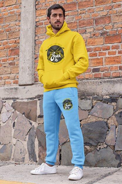 Angemiel Erkek Sarı Wear Jazz ve Saksafon Eşofman Takımı Kapüşonlu Sweatshirt Mavi Eşofman Altı