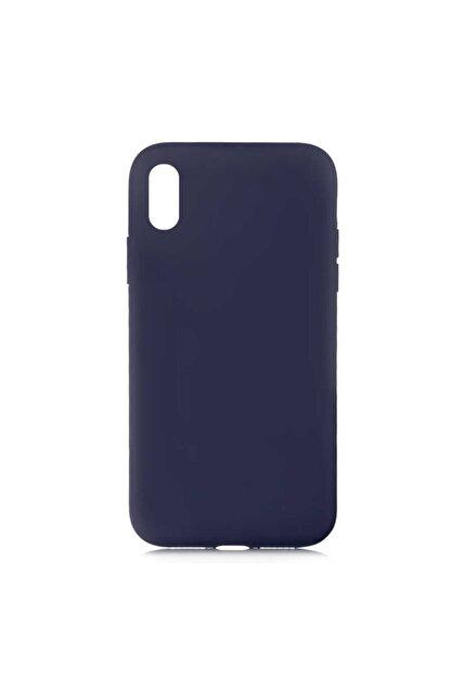 MOBAX Apple Iphone Xs 5.8 Kılıf Lsr Lansman Kadife Dokulu Kapak Lacivert