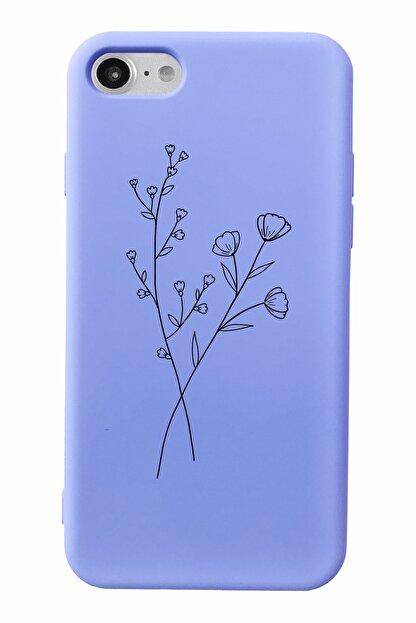 Mupity Minimal Çiçek Tasarımlı Lila Lansman Kılıf Iphone 7-8-se2020 Uyumlu