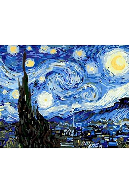 3D Art Sayılarla Boyama Tablo Seti Kanvas Fırça Boya Dahil 45x55 cm - Van Gogh Yıldızlı Gece