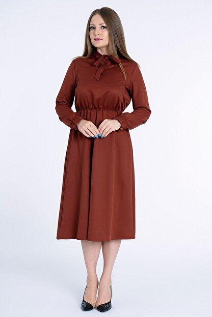 MissVina Kadın Kiremit Yakası Bağcıklı Kolu Lastikli Elbise K5954
