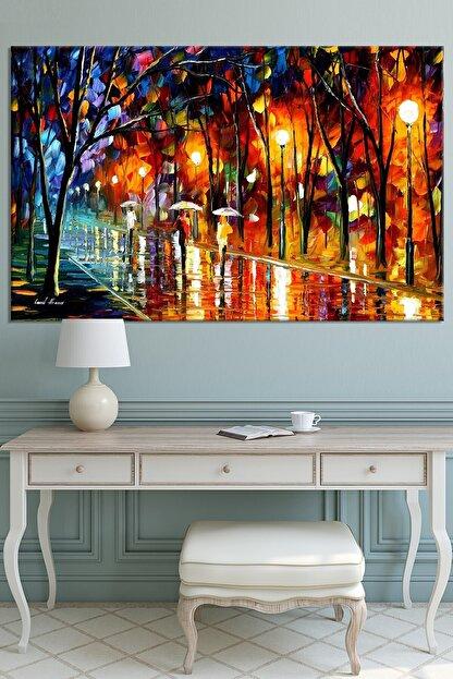 Nazenin Design Sonbahar Yağmur Altında Yürüyüş Pastel Kanvas Tablo 100x70 cm