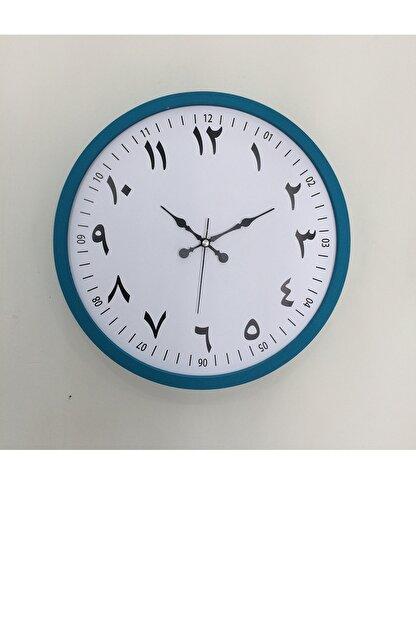 Platin Saat Turkuaz Ahşap Arapça Duvar Saati 36 cm