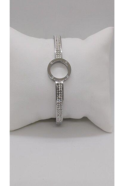 Ananas Accessories Kadın Çelik Taşlı Bileklik Gümüş
