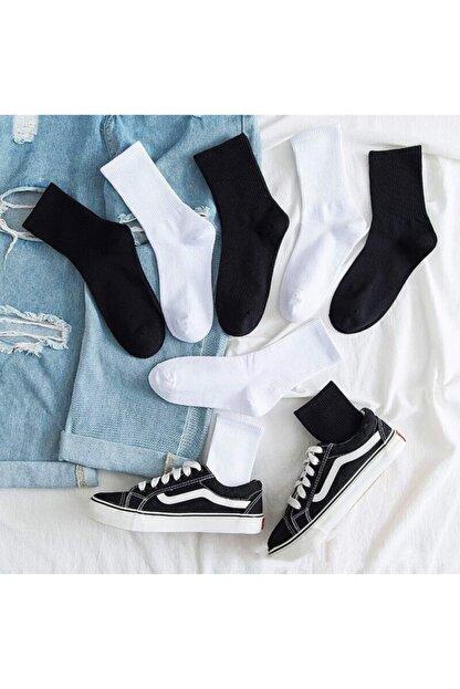 çorapmanya 6' Lı Paket Siyah+beyaz Çizgisiz Pamuklu Kolej Tenis Çorap