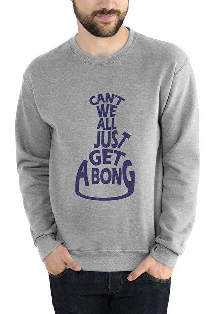 Collage Get A B Baskılı Gri Erkek Örme Sweatshirt Uzun Kol
