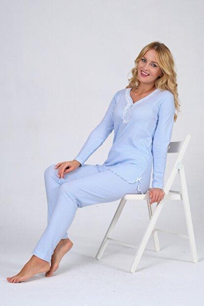 Pijama Denizi Uzun Kollu Düğmeli Pijama Takımı Mavi Çizgili Dantel Yaka Interlok