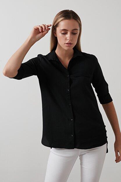 Lela Kadın Siyah Pamuklu Katlanabilir Uzun Kollu Gömlek Gömlek