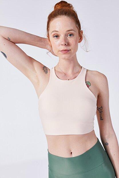 VAYU Kadın Krem Halter Yaka Tül Detaylı Yoga ve Pilates Sporcu Sütyeni