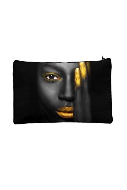 Carali Kadın Siyah Dijital Baskılı Makyaj Çantası