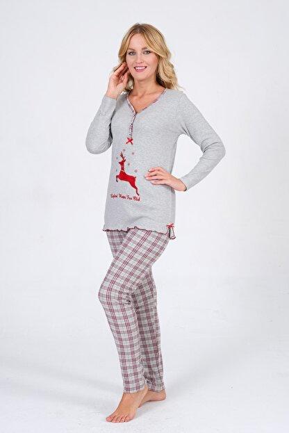 Pijama Denizi Kadın Uzun Kollu Düğmeli  Geyik Nakışlı Gri Ekoseli Interlok Pijama Takımı