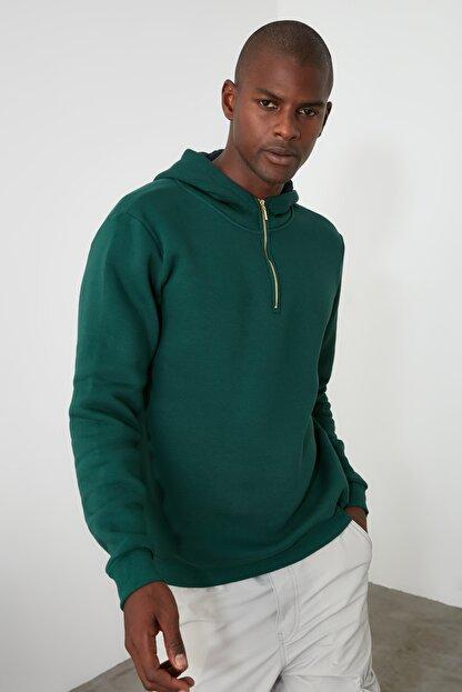 TRENDYOL MAN Ördek Başı Yeşili Erkek Kapüşonlu Yarım Fermuarlı Yeni Sweatshirt TMNAW20SW0507