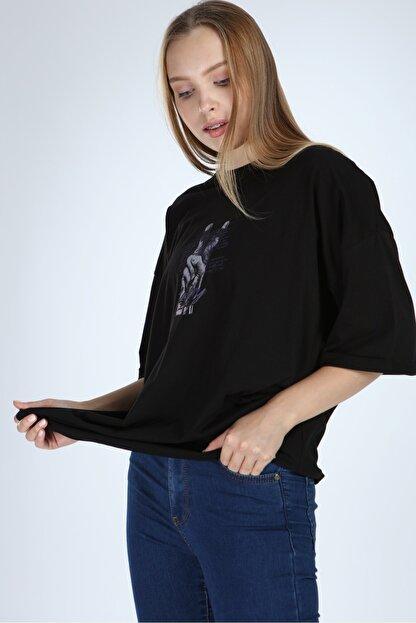 Millionaire Siyah Victory Baskılı Oversize T-shirt