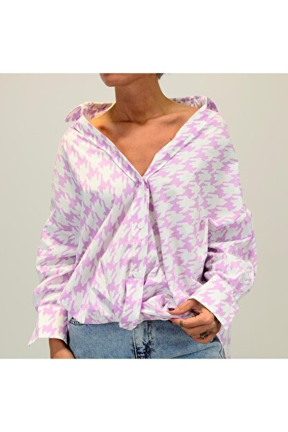 Shoppingdimoda Kadın Lila Düşük Kol Oversize Gömlek