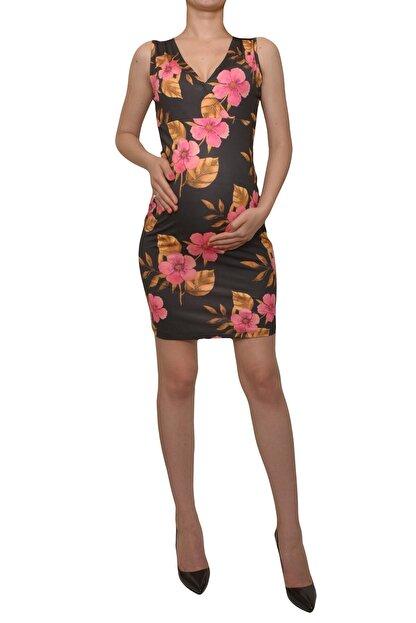 MYRA by LuvmaBelly Kadın Siyah Çiçekli Lohusa Emzirme Elbise