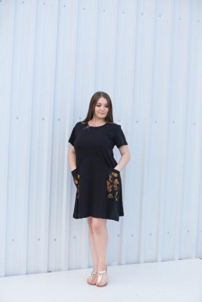 MGS LİFE Kadın, Renkli Cep Detaylı, Siyah Renkli, Büyük Beden Yazlık Elbise