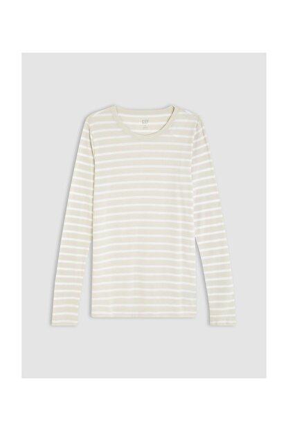 GAP Kadın Bej Çizgili Uzun Kollu T-Shirt 499741