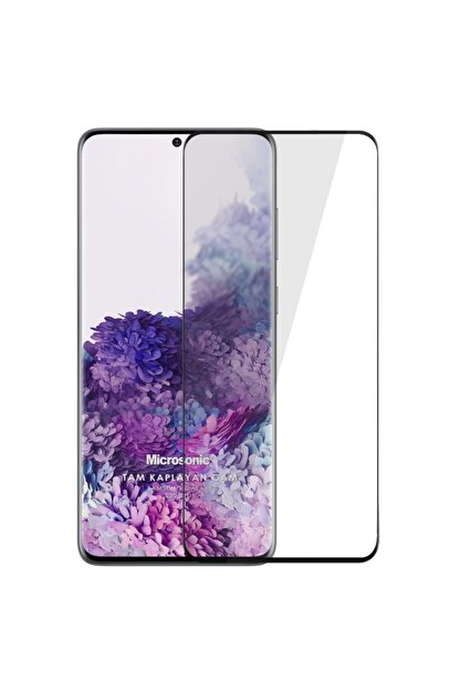 Microsonic Samsung Galaxy S20 Plus Tam Kaplayan Temperli Cam Ekran Koruyucu Siyah