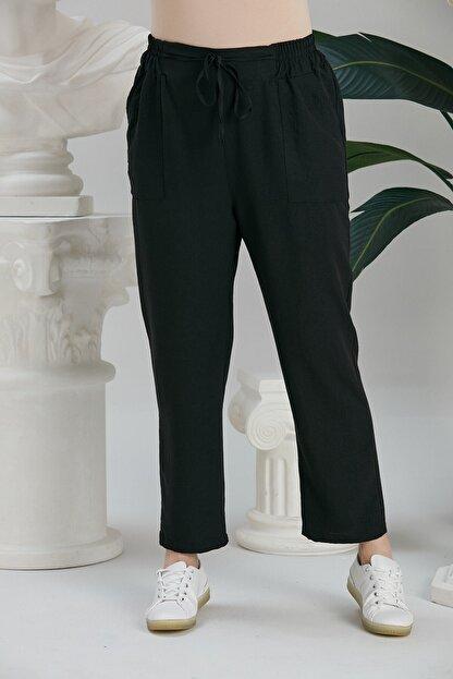 Rmg Kadın Siyah Beli Lastikli Bağcık Detaylı Pantolon