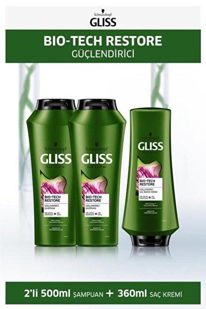 Gliss Bio-tech Güçlendirici Şampuan 500 Ml X 2 Adet + Saç Kremi 360 Ml