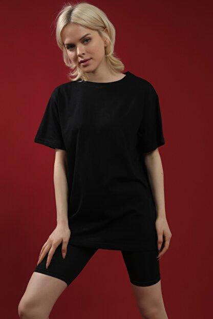 Grenj Fashion Siyah %100 Pamuk Bisiklet Yaka Boyfriend Örme Tshirt