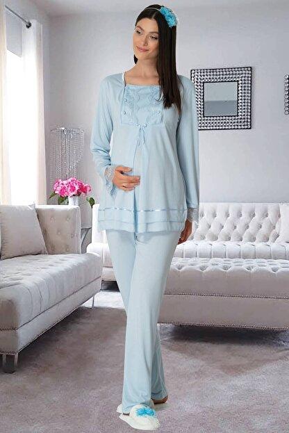 By Mecit Pijama Carpediem L.r. Mavi 1506 Hamile Lohusa Pijama Takımı