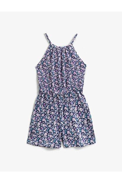 Koton Kız Çocuk Lacivert Çiçekli Askılı Tulum