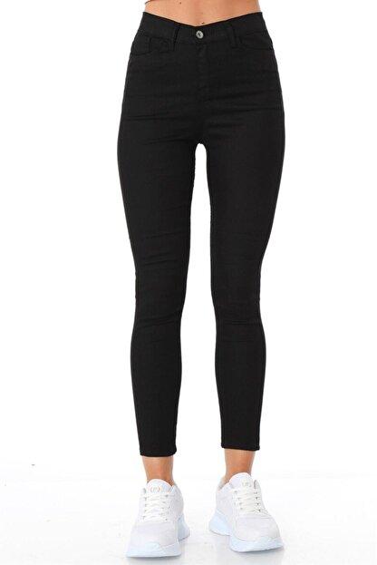 ZİNCiRMODA Kadın Siyah Beş Cepli Yüksek Bel Pantolon