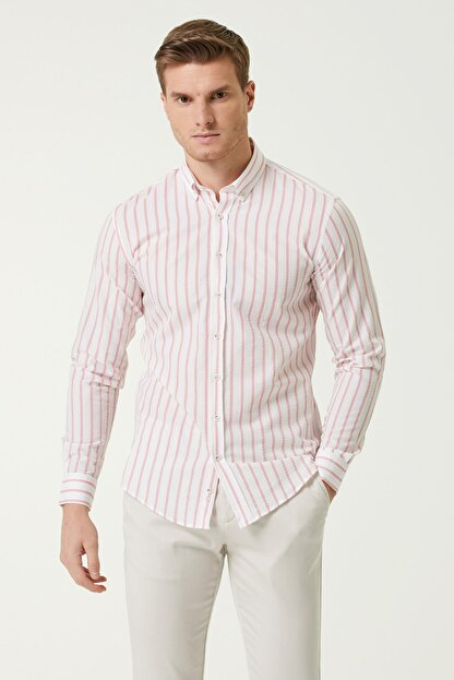 Network Erkek Slim Fit Beyaz Kırmızı Çizgi Desenli Gömlek 1078136