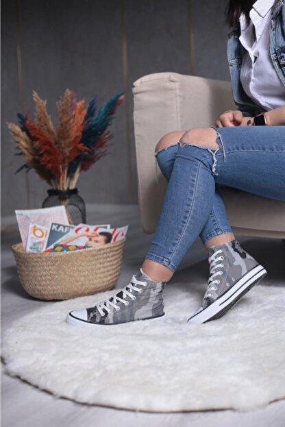 Espardile Unisex Kamuflaj Desen Uzun Spor Ayakkabı