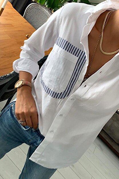 mor butik Kadın Beyaz Sırtı Pencereli Pamuk Gömlek Mrg010001