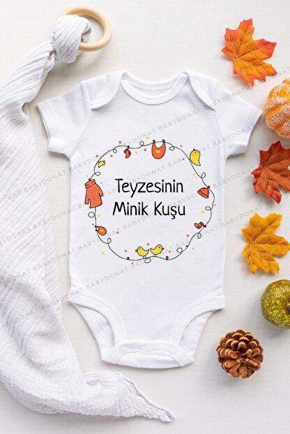 Babydonat Unisex Bebek Beyaz Teyzesinin Minik Kuşu Desenli Kısa Kol Body