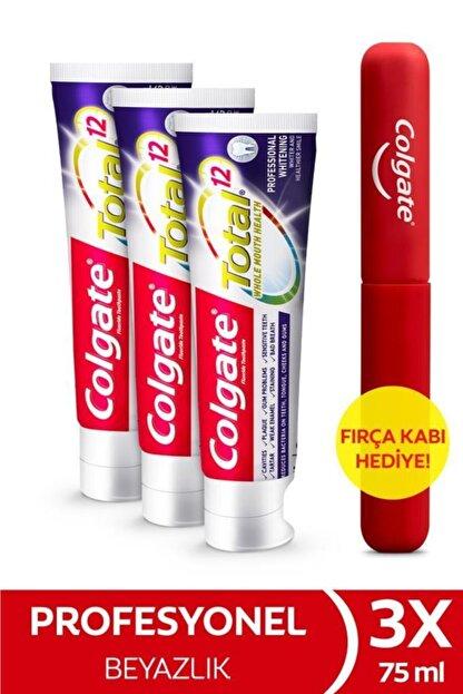 Colgate Total Profesyonel Beyazlık Beyazlatıcı Beyazlatıcı Diş Macunu 75 Ml X 3 Adet + Fırça Kabı He