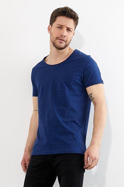 Figo Erkek Lacivert Bisiklet Yaka Basic T-shirt