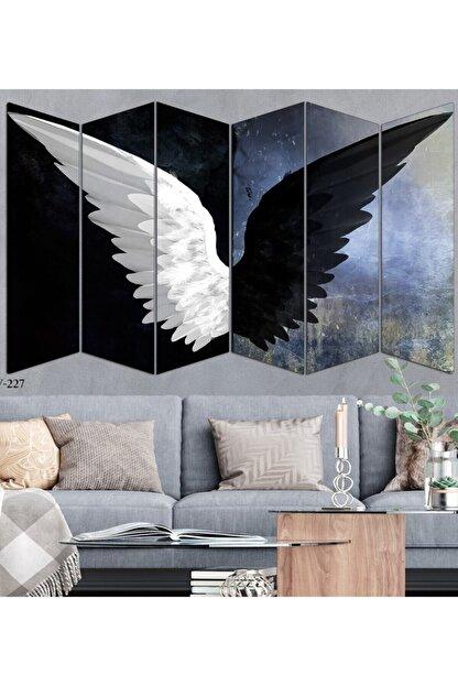 hanhomeart Siyah Beyaz Kanat 6 Parça Mdf Duvar Tablo Seti