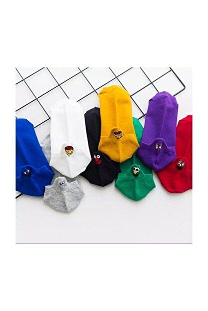 Yalıncak Çorap Emoji Çoraplar 8'lı Gökkuşağı Paketi Resimde Görülen Renkler
