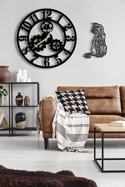 LUPOKRAFT Dekoratif Siyah Duvar Saati 50 x 50 cm ve Kedili Tablo
