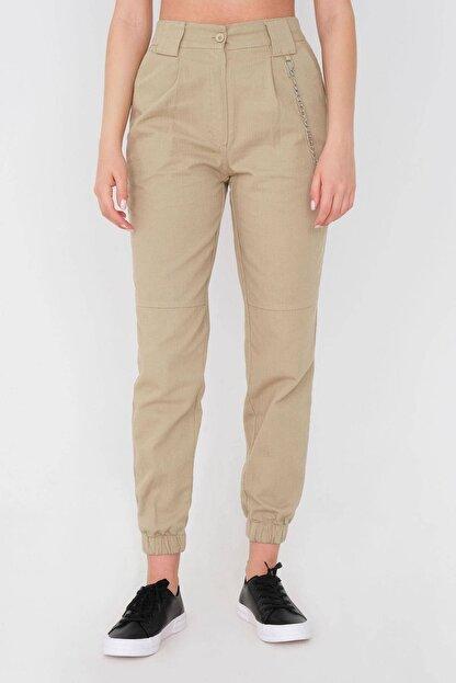 Addax Kadın Vizon Zincir Detaylı Pantolon Pn01-0073 - S11
