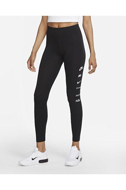Nike Sportswear Swoosh Yüksek Belli Siyah Tayt