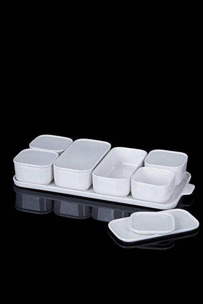 ACAR Beyaz 7'li Porselen Kapaklı Kahvaltılık